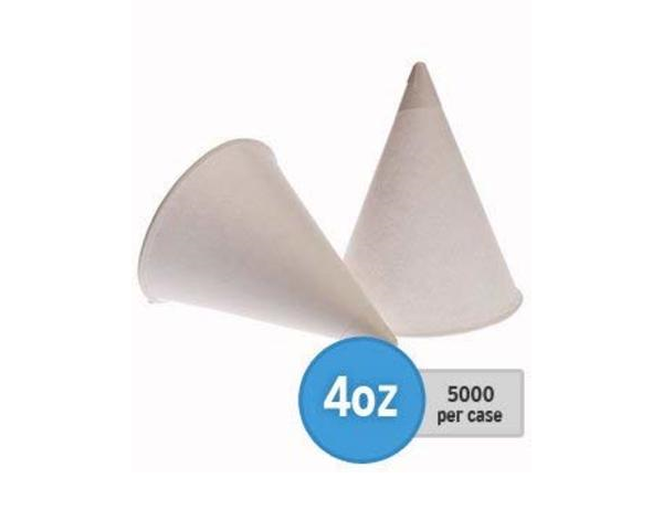 4oz White Paper Cones in cases of 5000 for Glacier water coolers.