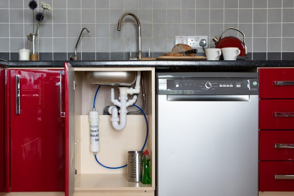 Glacier GWFL undersink water filter installed in kitchen with separate chrome tap. Remove fluoride from drinking water.