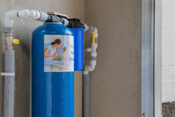 Glacier SupremeXL inline whole system water filter installed in large area filter all the water in the building.