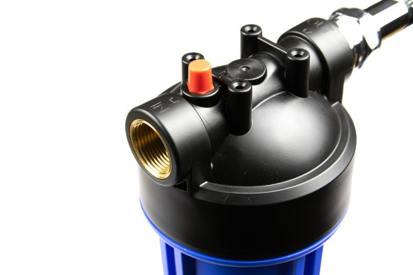 Glacier SupremeXL whole system water filter prefilter housing closeup. Attached to the main carbon filter to remove sand, dirt and soil, protects the main water filter.