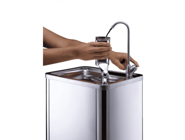 f4 Plumbed In Water Fountain in Stainless Steel. Great for schools, factories and healthcare industries. With long reach tap and spout. From Glacier Water Systems, Northern Ireland.