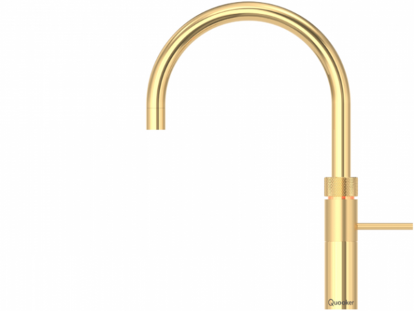 Quooker Fusion Boiling Water Tap Round in Gold with Glacier Water Systems.