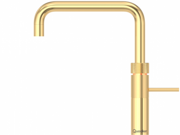 Quooker Fusion Boiling Water Tap Square in Gold with Glacier Water Systems. Boiling water straight from the kitchen tap.