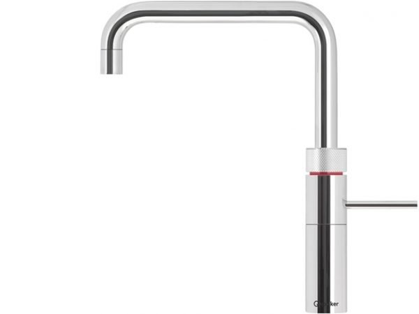 Quooker Fusion Boiling Water Tap Square in Polished Chrome with Glacier Water Systems. Boiling water straight from the kitchen tap.