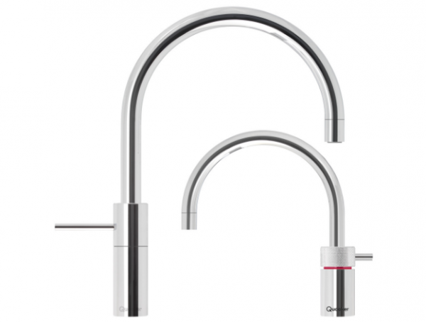Quooker Nordic Round Twintaps in Polished Chrome.
