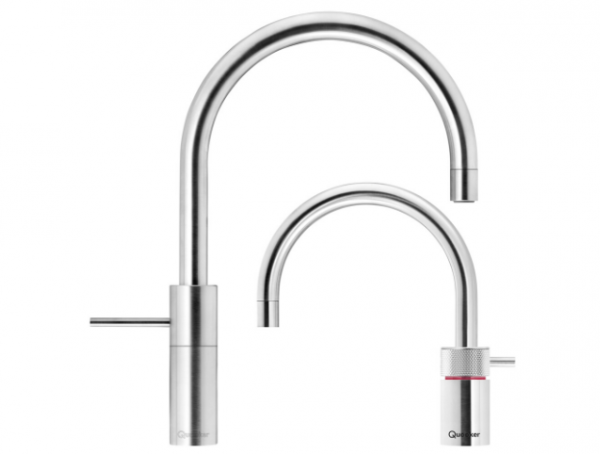 Quooker Nordic Round Twintaps in Stainless Steel. For hot, cold and boiling water.