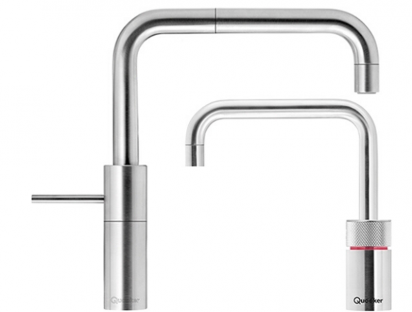 Quooker Square Nordic Twintaps in Stainless Steel for hot, cold and boiling water.